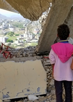 Children, rubble school Yemen